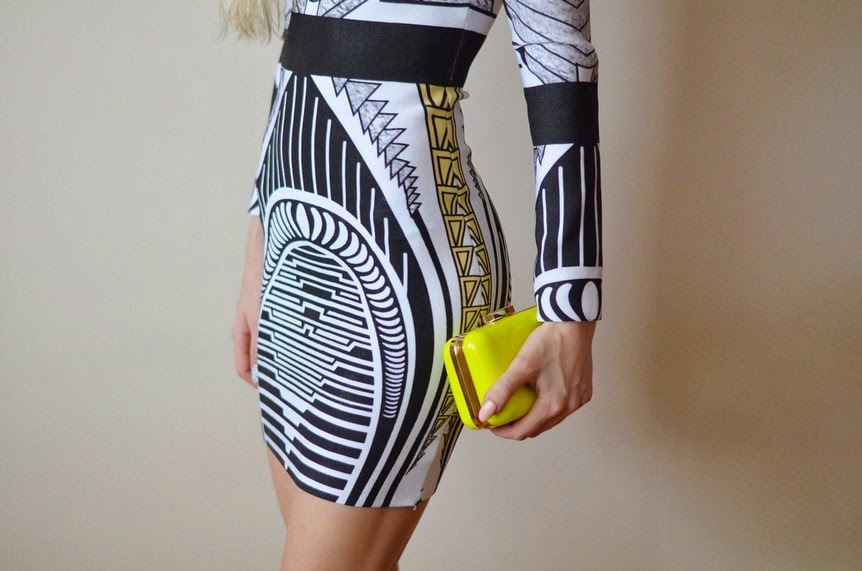 PRINTED BANDAGE LONG SLEEVE DRESS, NEON CLUTCH & PRINTED NAILS