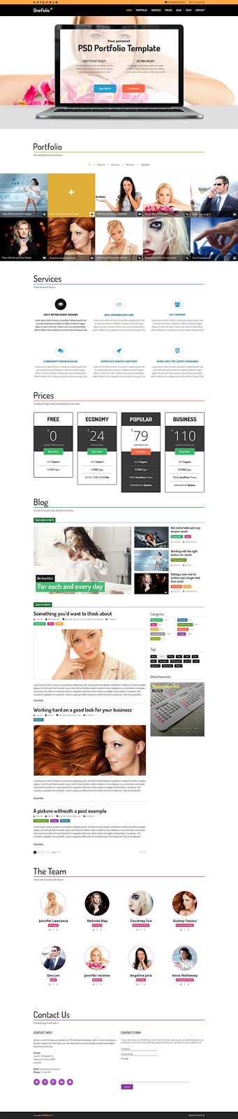 Premium One Page PSD Template