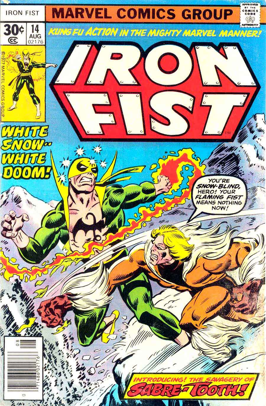 Iron Fist #14 / 1st appearance Sabre-Tooth / bronze age marvel comic book cover