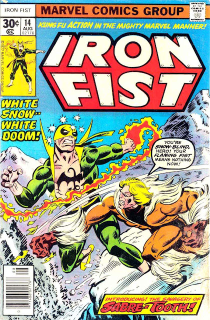Iron Fist v1 #14, 1977 Marvel bronze age comic book cover  - 1st appearance Sabre-Tooth