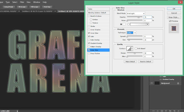 Cara Membuat Teks Dengan Efek Besi Krom Warna Pelangi di Photoshop.