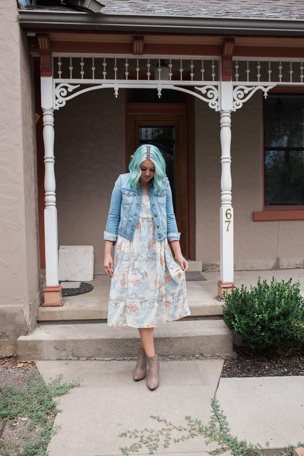 Fall Outfit, Utah Fashion Blogger, Blue Hair