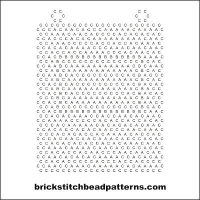 Free brick stitch seed bead necklace pendant pattern letter chart.