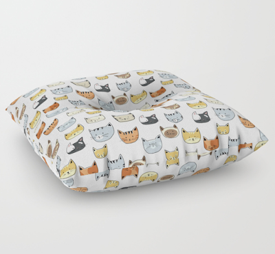 cat patterned floor pillow