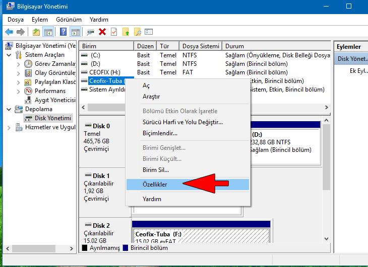 Disk yönetimi ile flash bellek ismi değiştir - www.ceofix.com