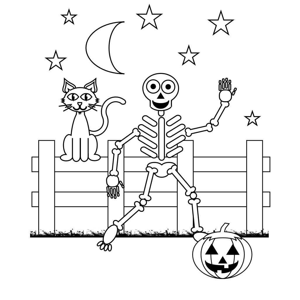 skeleton coloring pages 2 - Scary Colouring Pages 2
