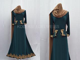 Jubah Muslimah Moden Online  Warna Hijau Emerald