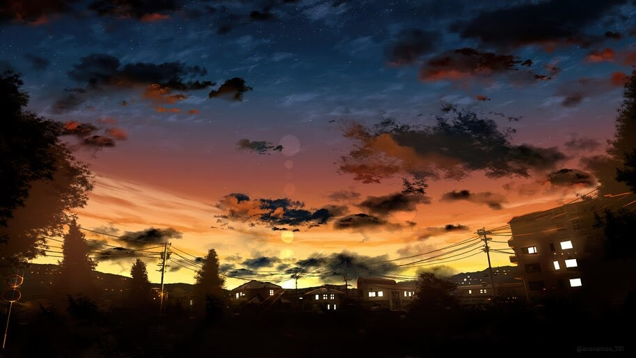 Anime, Sky, Sunrise, Scenery, 4K, #4.2450