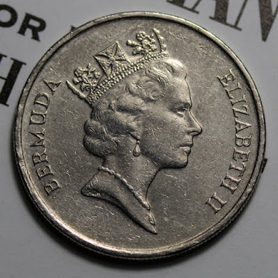 Obverse of 1997 Bermuda 25 Cents, Queen Elizabeth
