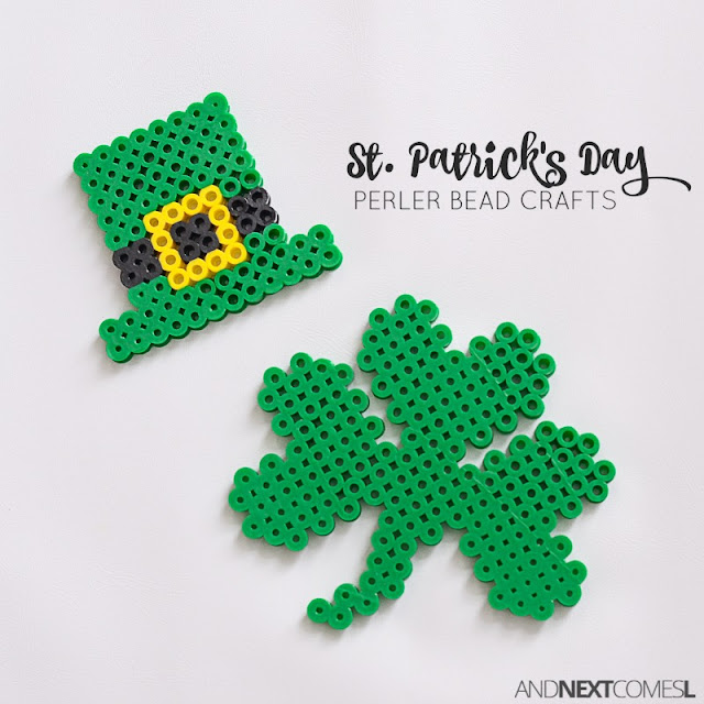 St. Patrick's Day perler bead crafts from And Next Comes L