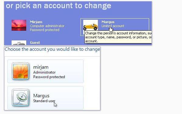 Windows XP, comptes utilisateur. Cliquez sur un compte pour changer son type, nom, image ou créer un mot de passe.