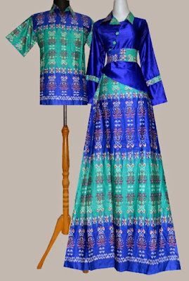 Model Gamis Batik Kombinasi Satin couple