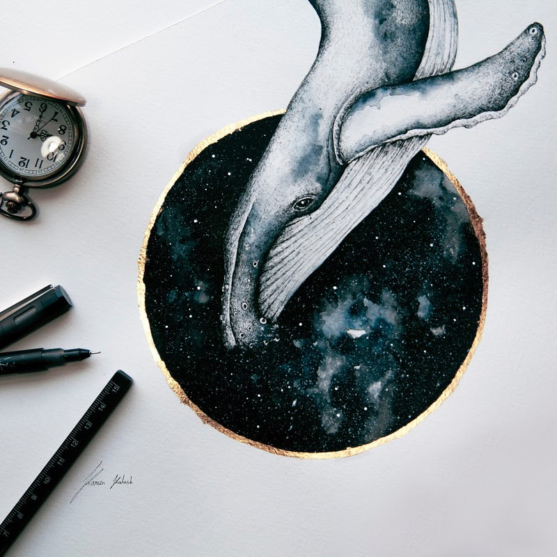 05-Whale-in-Space-Surreal-Animals-Mostly-Ink-Drawings-www-designstack-co