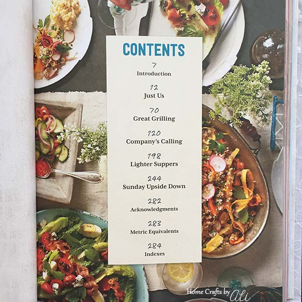 table of contents in Sunday Suppers by Cynthia Graubart of Southern Living Magazine
