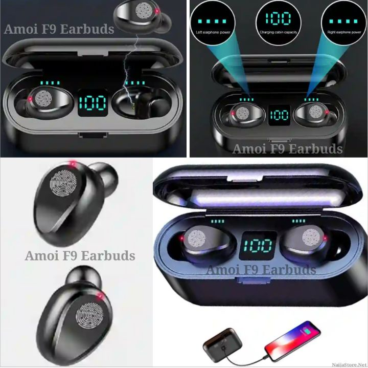 Amoi F9 Earbuds: Wireless Mini Earphones with 2000mAh Power Box - Portable In-Ear Bluetooth Headphones with Built-in Mic, Audio HIFI Effect