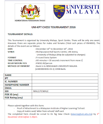 UM-KPT CHESS TOURNAMENT 2016 (FIDE Rated)
