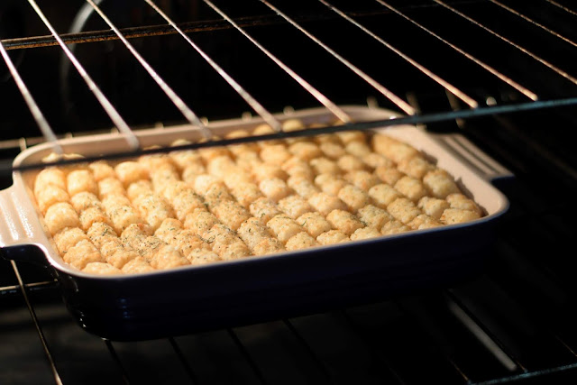 The bacon chicken ranch casserole in the oven.