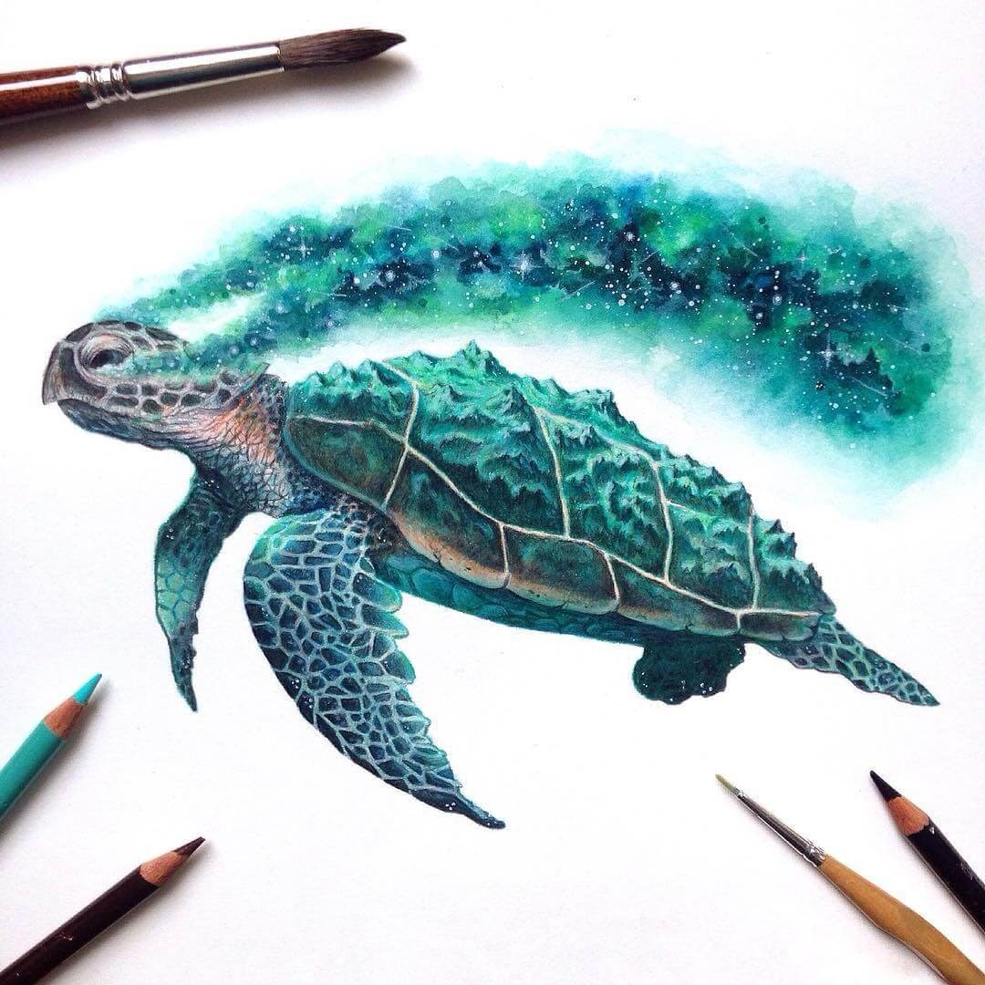 02-Turtle-David-Ambarzumjan-Cosmic-Space-Fantasy-Animal-Drawings-and-Paintings-www-designstack-co