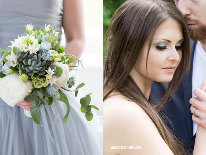 Braut Makeup Hochzeitsmakeup Brautstrauß Blaugrau Silber