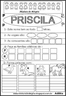 Brincando com os nomes -Priscila