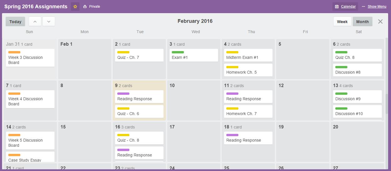 Trello Assignments Calendar