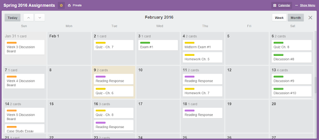 Trello Assignments Calendar
