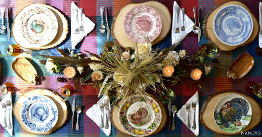 A Turkey Transferware Mix~n~Match Thanksgiving Tablescape