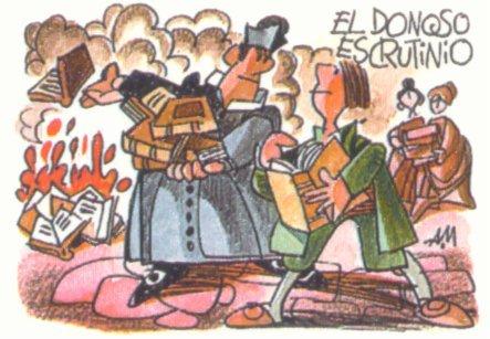 Pasado y presente de la quema de libros - La quema de los libros de caballería de don Alonso Quijano en El Quijote, por Mingote