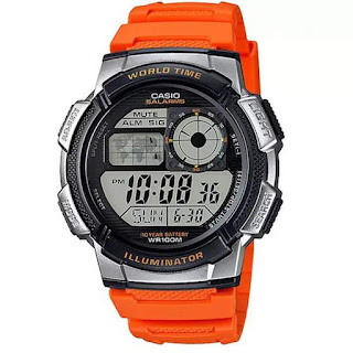 Casio digital AE-1000W-4BVDF warna orange
