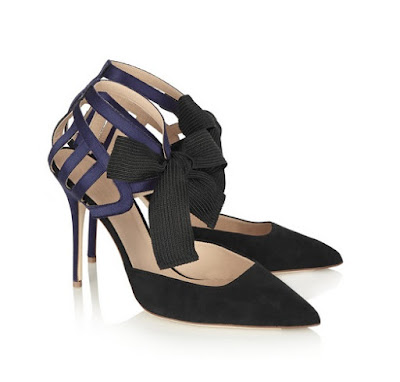 J.Crew Black and Navy Heels With Bows