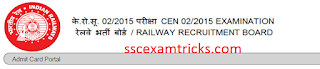 RRB PWD CEN 02/2015 Admit card