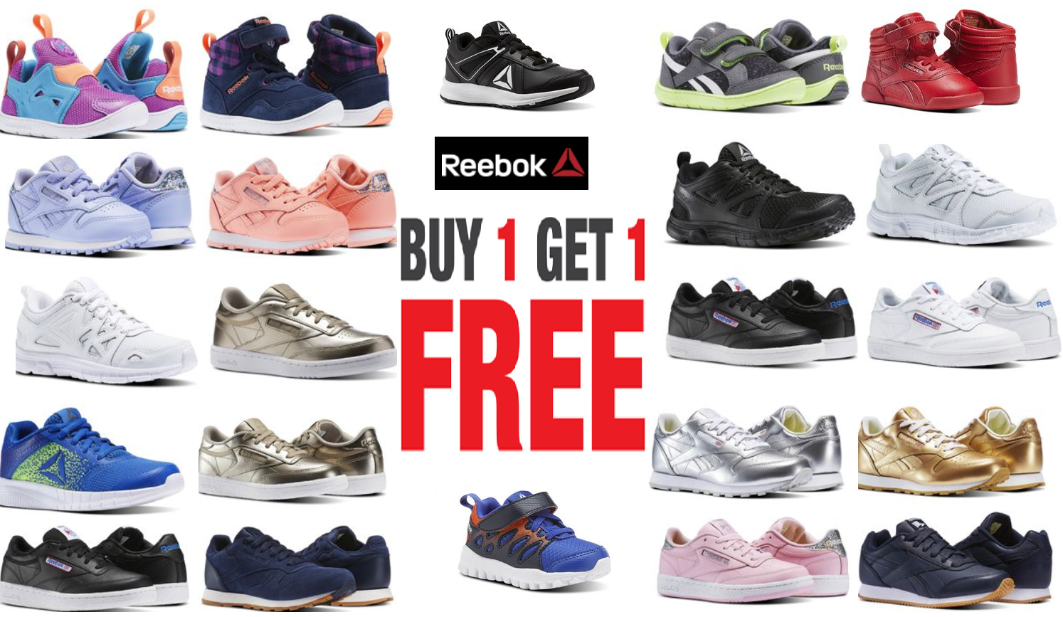 c4c5966871e Reebok Kids  and Toddler Sneakers Buy 1 Get 1 Free + Free Shipping   2  Pairs From  29.97