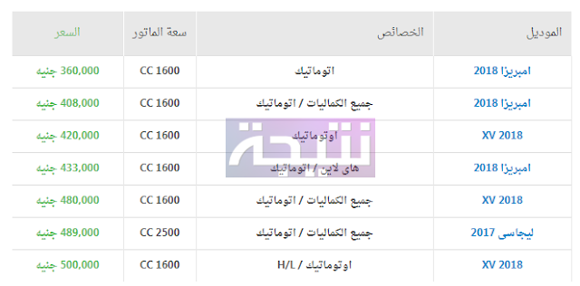 أسعار سيارات سوبارو 2018 في مصر