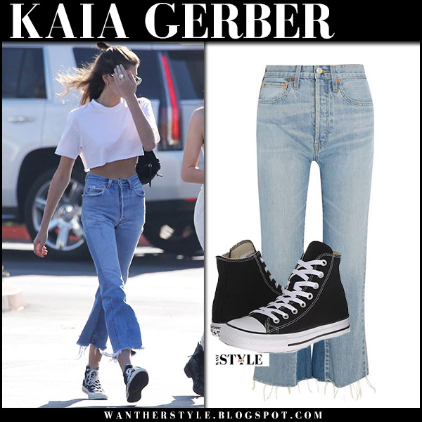 Kaia Gerber in white cropped top and cropped flared jeans redone model street style december 28