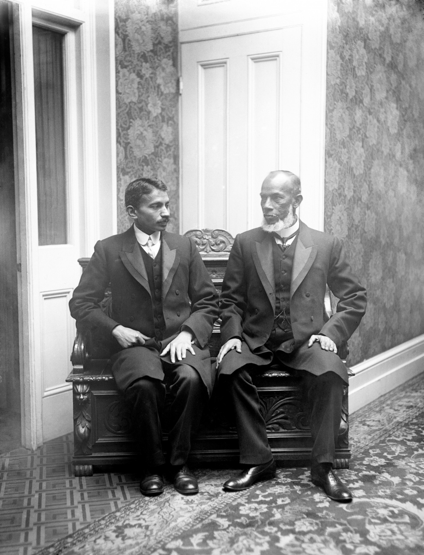 Mahatma Gandhi with a Friend in South Africa as Part of a Delegation of British Indians