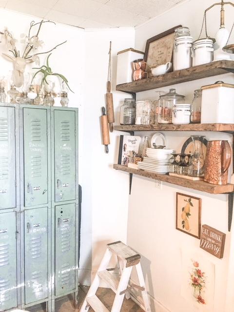 vintage lockers as kitchen storage