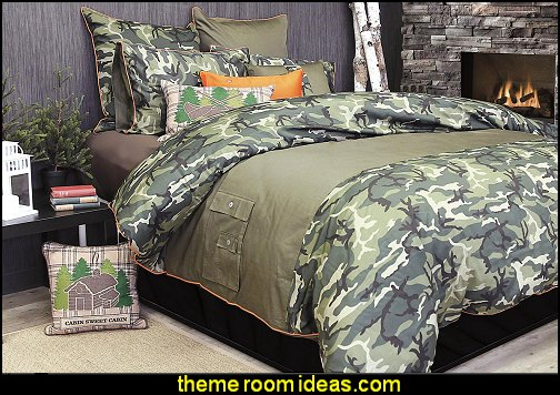 Glenroy Camouflage by Alamode Home log cabin - rustic style decorating - Cabin decor - bear decor - camping in the northwoods style  - Antler decor - log cabin boys theme bedroom - Cabin Bedding - Rustic Bedding - rustic furniture - cedar beds - log beds - LOG CABIN DECORATING IDEAS - Swiss chalet ski lodge murals - camping room decor