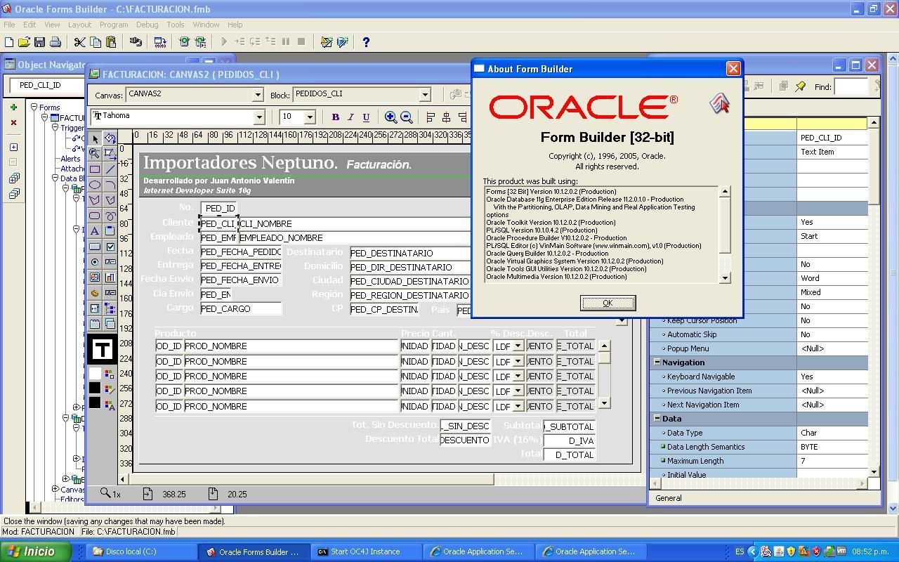 Oracle forms builder 10g crash windows 7