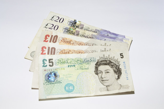 five, ten and twenty pound notes