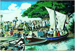 Quadro - Chegada dos Alemães no Rio Grande do Sul - Museu Histórico de São Leopoldo