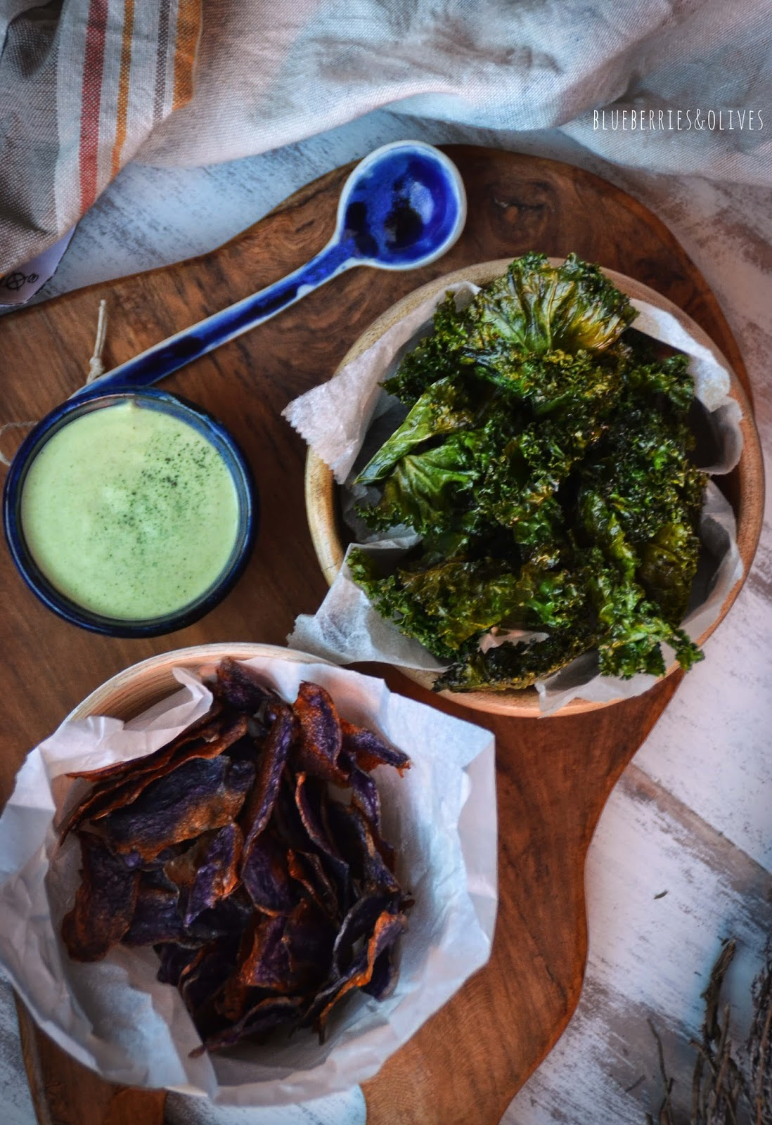 KALE AND PURPLE POTATO CHIPS WITH A WASABI DIP