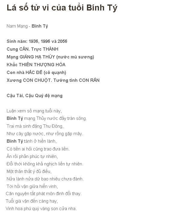 Tu Vi Binh Ty Nam Mang