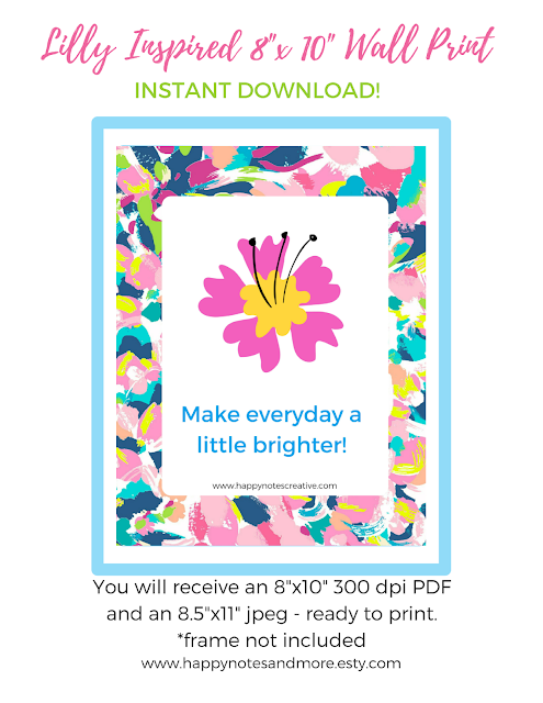 Free Lilly Inspired Printable - Super Cute!