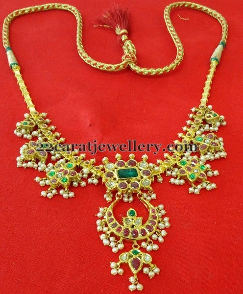 Chandbali Style Guttapusalu Necklace