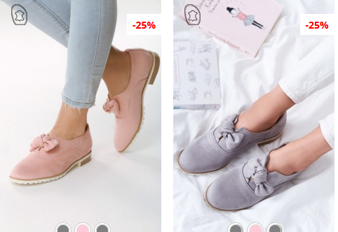 Pantofi casual dama cu fundita moderni piele eco intoarsa roz, Gri