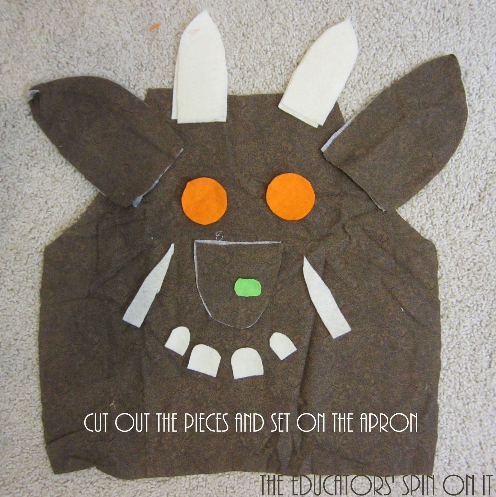 How to make a gruffalo dress up apron for creative for Gruffalo fabric