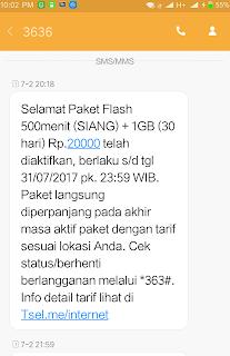 paket flash 500 menit siang tambahan 1 Gb 30 hari,