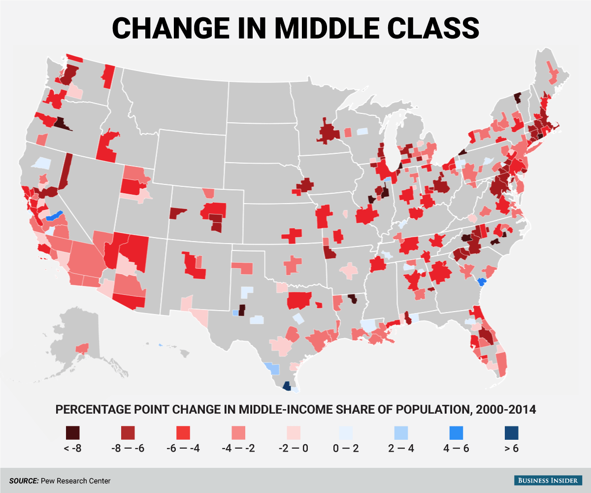 chart 1 decline of the us middle class 2000 2014 source pew research center