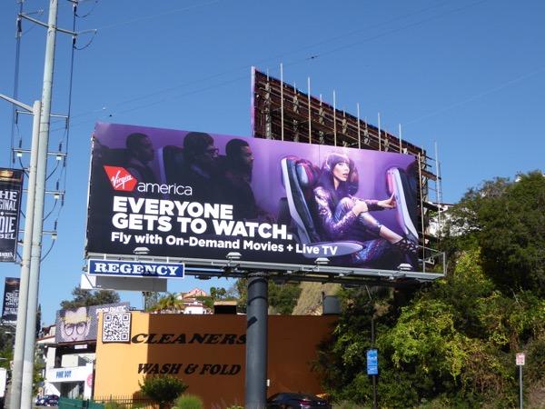 Virgin America Everyone gets to watch billboard