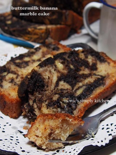 resep buttermilk banana marble cake